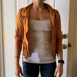 Mustard yellow zip up shirt
